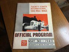 1940 INDIANAPOLIS INDY 500 PROGRAM RACE RACING