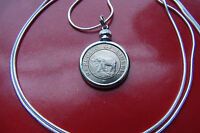 """1941 Rare Elephant & Palm Tree Coin Pendant  30"""" 925 Sterling Silver Snake Chain"""