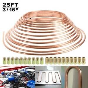 "25ft 3/16"" Copper Brake Pipe with 20pc 10mm Fittings Male+Female Nuts Unions"