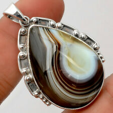 Natural Botswana Agate 925 Sterling Silver Pendant Jewelry 9018
