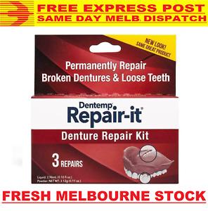 DENTEMP DENTURE REPAIR-IT KIT REPAIR BROKEN CRACKED DENTURE LOOSE TEETH EXPRESS