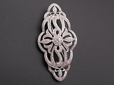 Sterling Silver .55ct Round Yellow White Diamond Filigree Flower Brooch Pin