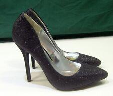 "new ladies glittery Black 4.5""Stiletto High Heel Pointy Toe  Sexy Size 7.5"