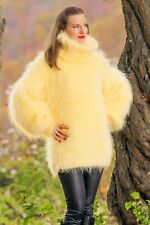 Yellow hand knit mohair sweater fuzzy handmade turtleneck SUPERTANYA jumper SALE