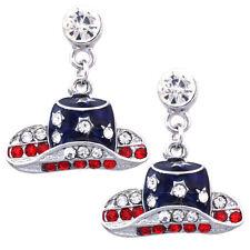 US American Flag Patriotic Red Blue Cowboy CowGirl Dangle Hat Post Earrings