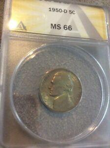 1950 D JEFFERSON Anacs MINT STATE 66 nickel