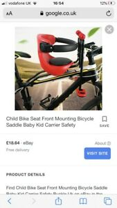 Child Bike Seat Front Mounting Bicycle Saddle Baby Kid Carrier Safety Buckle