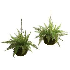 Artificial Leather Fern With Mossy Hanging Basket (Indoor/Outdoor) Set of 2 NEW