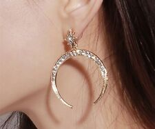 Fashion Earrings Boho Festival Boutique Uk Gold Crystal Moon Star Bling Luxury