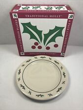"Nib Longaberger Pottery Traditional Holly 4 Pack 9"" Luncheon Plates 33197"
