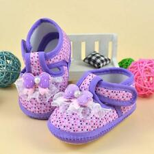 #1 Pair Kids Baby Girl Pink Soft Sole Crib Shoes Prewalker First Dot Shoes 11