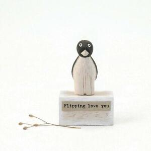 Small Wooden Penguin - Flipping Love You Gift - East Of India