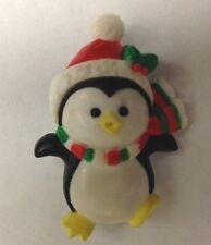 "Penguin Bird Broach Pin Jewelry Multi 1 1/2"" Polyresin Russ"