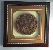 Handmade Dragon Teak Wood Carving Wall Panel Asian Carved Art Framed