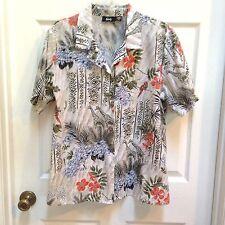 Tapestry 18W Button-up Shirt Giraffe Birds Butterflies Animals Green & Peach Top