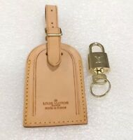 Authentic Louis Vuitton Large Leather Name Tag w/ Lock & Key Goldtone 🔐 🇫🇷