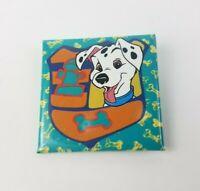 "VTG Disney 101 Dalmatians Puppy Pin Square Pinback Button 1.5"""