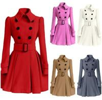 Autumn Women Outwear Wool Blend Jacket Coat Overcot Trench Parka Double Breasted