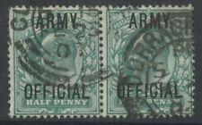 IRELAND CURRAGH CAMP GB KE7 ARMY OFFICIAL 1/2d PAIR VFU