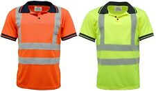 HI VIS VIZ HIGH VISIBILITY POLO SHIRT NAVY COLLAR REFLECT TAPE SAFETY WORK TOP