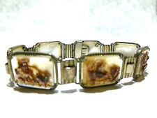 ORNATE STERLING SILVER CARVED CAMEO GOD GODDESS CHARIOT OLD ESTATE BRACELET 7.25