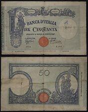 Regno Banca d' Italia 50 LIRE Barbetti Matrice 12-12-1934 MB- #B1055