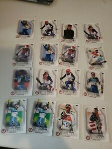 Lot of 16 -  2018 Olympic Trading Cards ALPINE SKIING Topps EUC