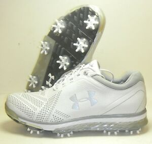 New Under Armour UA Tempo Tour Golf Shoes Spikes Cleats Size 7 White Silver