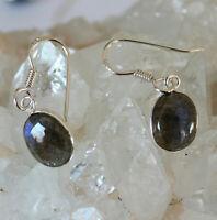Labradorit Ohrhänger 925 Silber Ohrschmuck Blau-Schimmer Oval Ohrringe Damen Neu