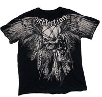 Affliction T-Shirt MEDIUM Distressed Soft Thin Wings Feathers Skull Native