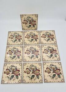 Vintage set of 10 Fireplace Tiles