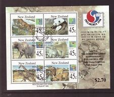 New Zealand 1994 Wild Animals sheet used CTO stamps