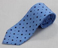 $295 Kiton 100% Silk Light Blue Navy Diamond Square Pattern 7 Seven Fold Tie
