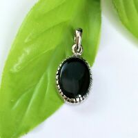 Pendant Natural Black Onyx Gemstone Solid Sterling Silver 925, Oval Cabochon