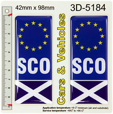 2x SCO Euro Flags Scotland Number Plate Sticker Decals Badges 3D Resin Gel Domed