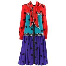 KOOS VAN DEN AKKER c.1980s 2 Piece Tri-Color Polka Dot Drop Waist Dress + Scarf