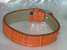 Estate Subtle Animal Skin Orange Faux Leather Band Bracelet w Silvertone Buckle