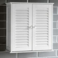 Bathroom Cabinet Wall Mounted Double Shutter Door White Storage By Home Discount