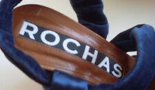 ROCHAS Designer Paris Navy Gold Wedge Heels Sandals Size EU 37 UK 4 RRP £470 NEW