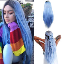 Long Blue Straight Wig Women Heat Resistant Synthetic Hair Cosplay Fashion Party