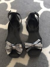 topshop Black Sandals With Gunmetal Gray Bow size women US 5.5 EU size 36