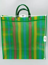 "Mexican Market Mesh Bag Rausable Tote Bolsa De Mercado Lg 17"" Green Multicolor"