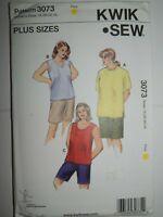 Tank Top T Shirt Shorts 1X 2X 3X 4X Sewing Pattern 3073 Kwik Sew Stretch Knit