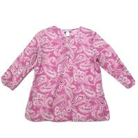 Jaclyn Smith Popover Tunic Blouse Sz L Large Pink Paisley 3/4 Sleeve Side Vents