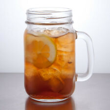 6 - 16 OZ ICED TEA DRINKING JARS MASON W/HANDLE LIBBEY GLASS 97084