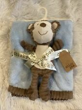 NWT Chick Pea Blue Blanket and Monkey Textured Ribbed Brown Plush Toy Baby Lovey
