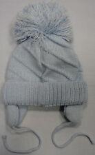 Baby Babies Boys Girls Bobble Hat Pink Blue White 6-12 12-24 Months Winter Plain