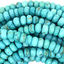 """Faceted Blue Turquoise Rondelle Beads 15.5"""" 3x4mm 4x6mm 5x8mm 6x10mm 8x12mm"""