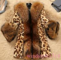New Womens Big Mink Fur Collar Overcoat Jacket Classic Leopard Grain Medium Long