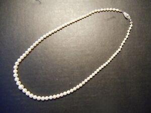 Alte zierliche Perlenkette Halskette Verschluß 835 Silber  50 cm
